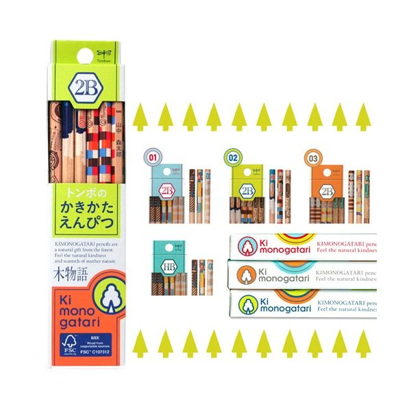 [名入れ不可]トンボ鉛筆  鉛筆 木物語<Ki monogatari> 12本入り 芯の濃さ:HB〜2Bまで [M便 1/1]