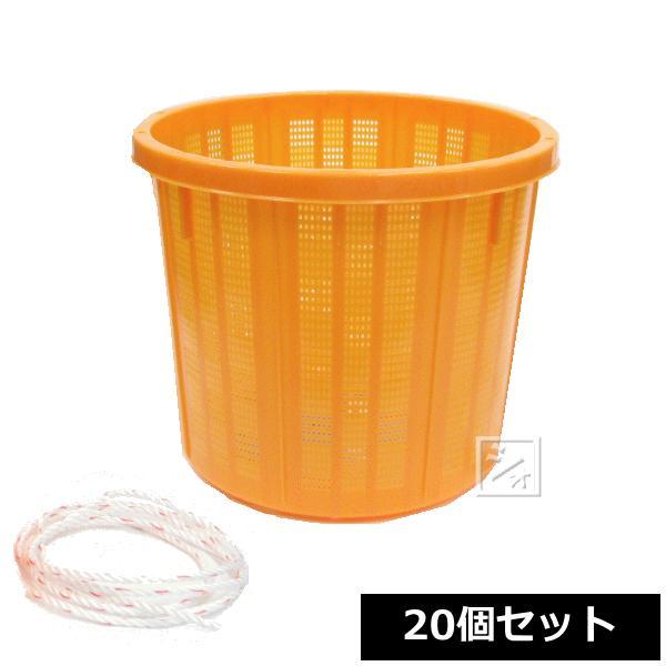 (法人配送限定) アロン化成 丸型収穫かご (中) 17L ひも付き (20個セット)