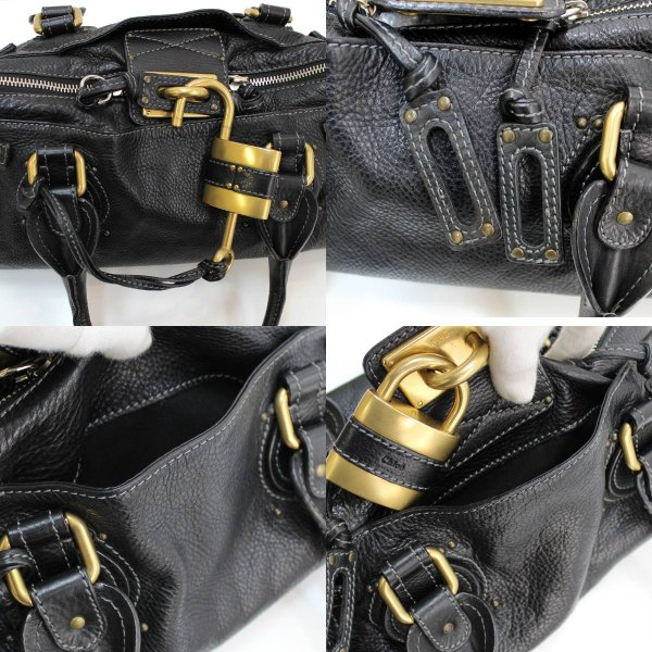 Chloe / クロエ パディントン ハンドバッグ ブラック×ゴールド金具 7ESA02-7E422 FS  Bランク