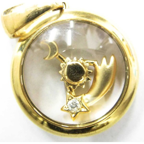 K18 18金 ゴールド 太陽 月 星 回転式 ダイヤ ペンダントトップ 9.1g KA 中古 Bランク