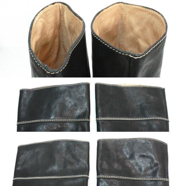 FRANCO MARTINI / フランコマルティニ レディース レザーブーツ ロングブーツ ベルト付き レザー ブラック 表記サイズ:35(22.5cm)  NT  Bランク