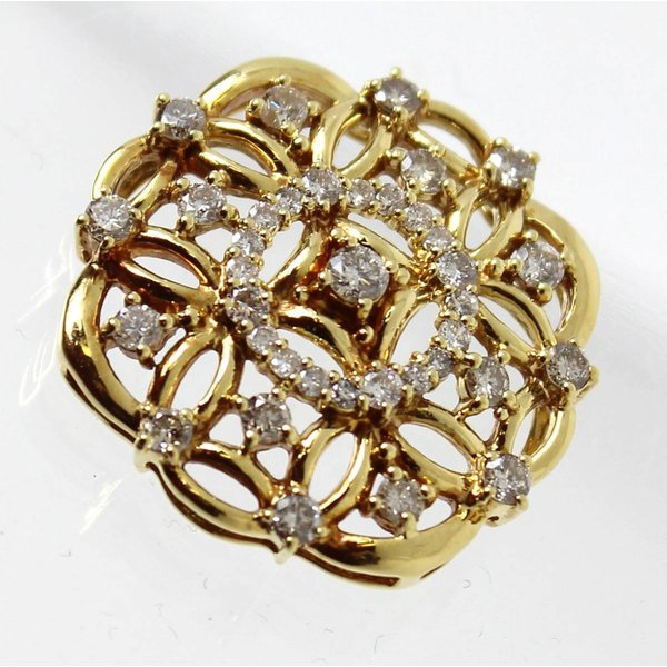 太陽モチーフ ダイヤ デザイントップ K18YG / 18金イエローゴールド×ダイヤモンド ダイヤ:計1.00ct 重量約5.9g NT 中古 美品 ABランク