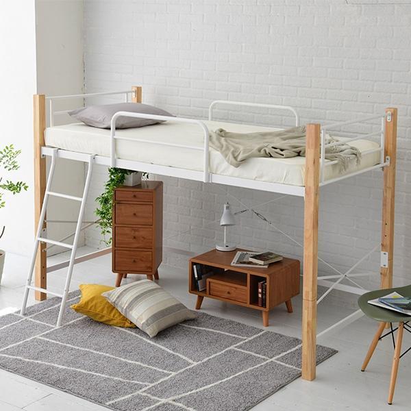 ロフトベッド シングル ハイタイプ 木製 ロフトベット システムベッド シングルベッド 高さ調節可能 IRI-1042SET|netshop-edgyy