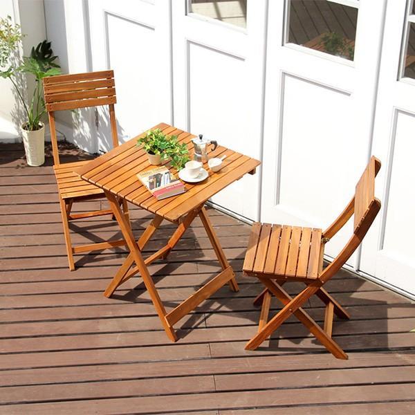 ガーデンテーブルセット 3点 木製 アカシア材 完成品 幅60 折り畳み式 ブラウンカラー TOAST トスト おしゃれ