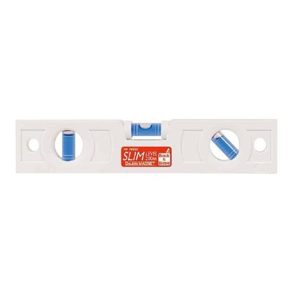 シンワ測定 スリムレベル 200mm 白 背面マグネット付 76332 携帯に便利なスリム形状
