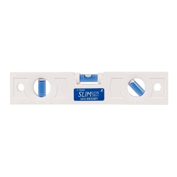 シンワ測定 スリムレベル 200mm 白 マグネット付 76340 携帯に便利なスリム形状