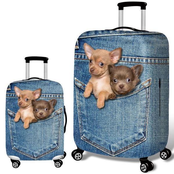 スーツケースカバー デニム風のポケットから顔を出すチワワ イヌ プリント (M)