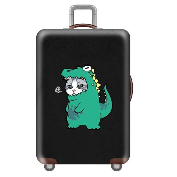 スーツケースカバー 仮装したネコ ユニーク プリント (恐竜, Mサイズ)