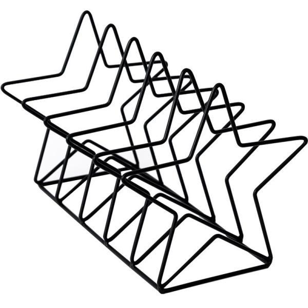ブックスタンド 本立て 星型 シンプル 等間隔な仕切り 北欧風 金属製 (ブラック)