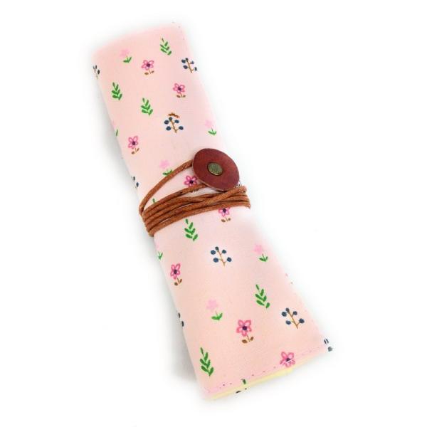 ロールペンケース かわいい 小花柄 布製 (ライトピンク系)