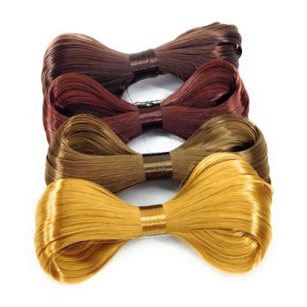 ヘアクリップ ヘアリボン 自毛風 4色セット (茶髪, 金髪系)