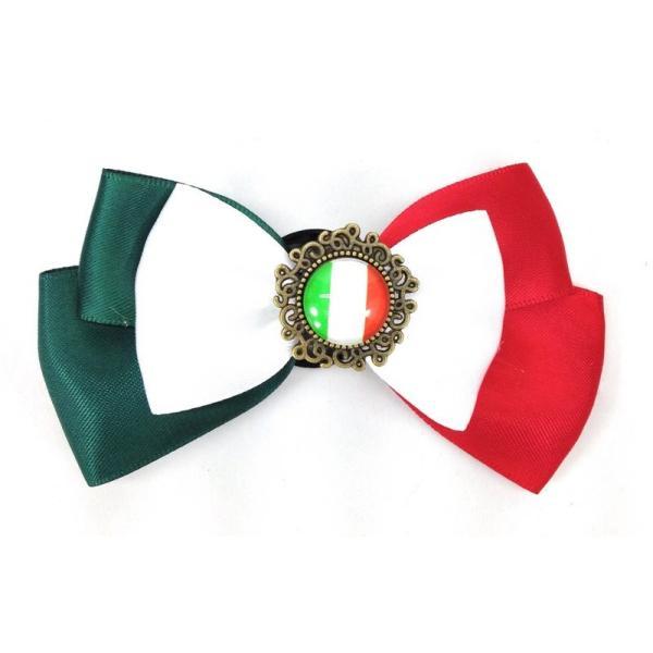 ブローチ リボン 国旗ボタン付き (イタリア)
