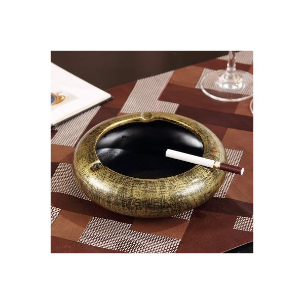 灰皿 モダン 円形 無地 陶器製 (アンティークゴールド)