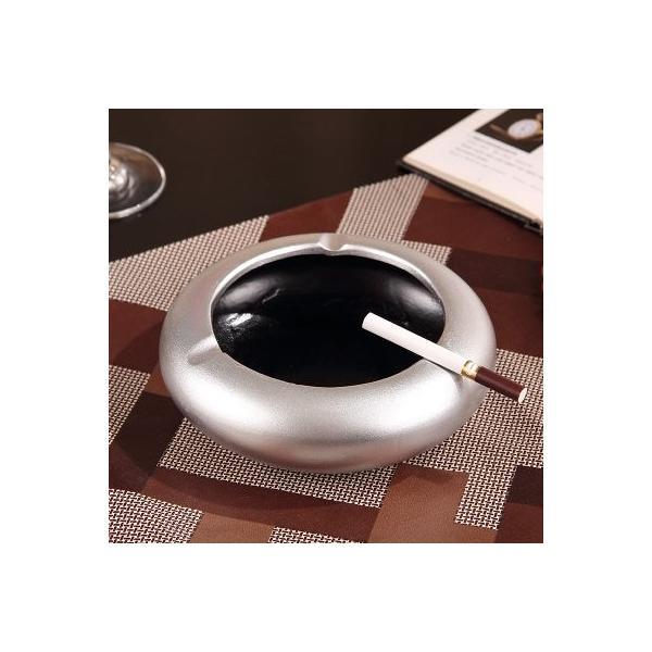 灰皿 モダン 円形 無地 陶器製 (メタリックシルバー)