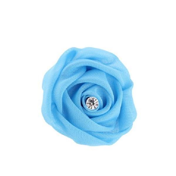 2way コサージュ ヘアクリップ オーガンジー フラワー ダイヤ風装飾 10個セット (ライトブルー)