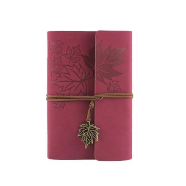 ノート ルーズリーフ アンティーク風 楓の葉っぱ リーフのチャーム付き (ワインレッド)
