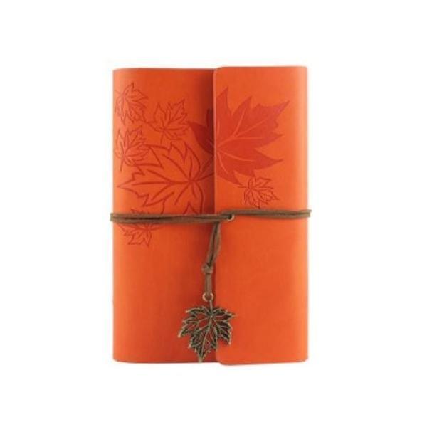 ノート ルーズリーフ アンティーク風 楓の葉っぱ リーフのチャーム付き (オレンジ)