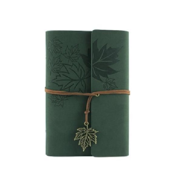 ノート ルーズリーフ アンティーク風 楓の葉っぱ リーフのチャーム付き (モスグリーン)