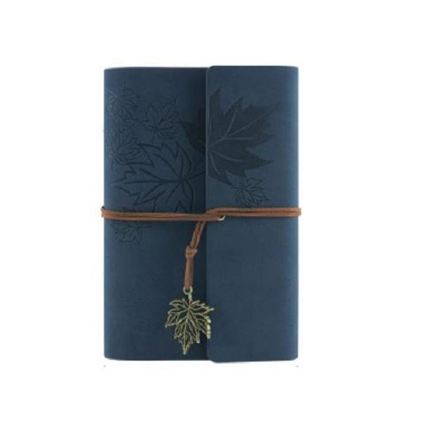 ノート ルーズリーフ アンティーク風 楓の葉っぱ リーフのチャーム付き (ネイビー)