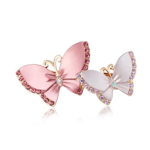 バレッタ エレガントな2匹の蝶々 キラキラ (ピンク)