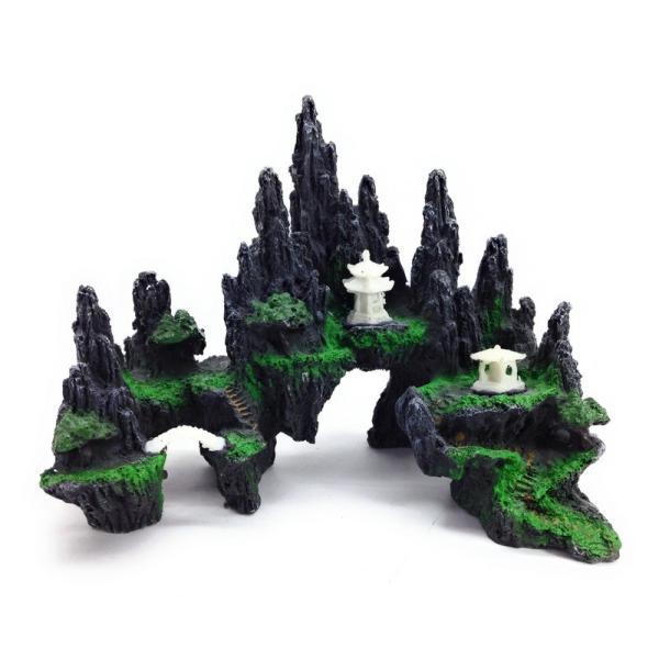 水槽用オブジェ オーナメント 苔の生えた岩山 アクアリウム (Cタイプ)
