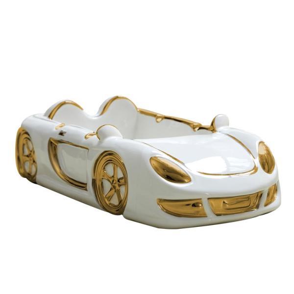 灰皿 オープンカー スーパーカー ホワイト×メタリックカラー 陶器製 (ゴールド, 大サイズ)