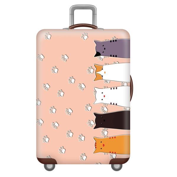 スーツケースカバー かわいい5匹の猫 肉球 イラスト プリント (M)