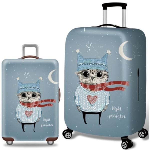 スーツケースカバー 猫耳帽子と冬の衣装を着たフクロウ 三日月 イラスト プリント  (L)