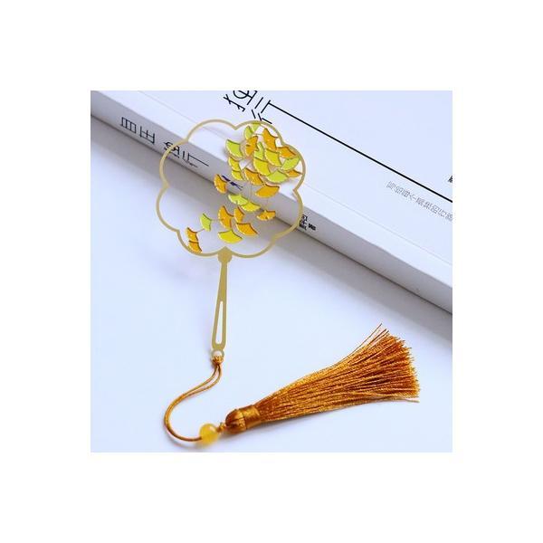 しおり 透かし模様のうちわ型 美しい植物 タッセル付き 金属製 ゴールドカラー (銀杏)