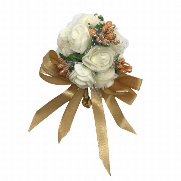 コサージュ ホワイトのバラ ブーケ 花束 ゴールドのリボン付き