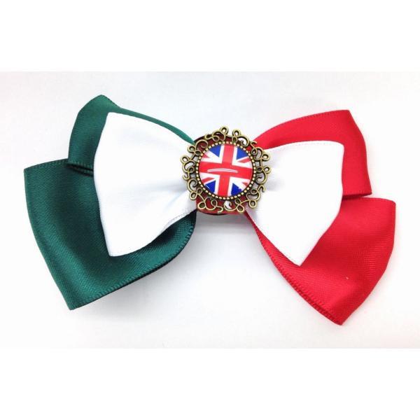 ブローチ リボン 国旗ボタン付き (イタリア×イギリス)