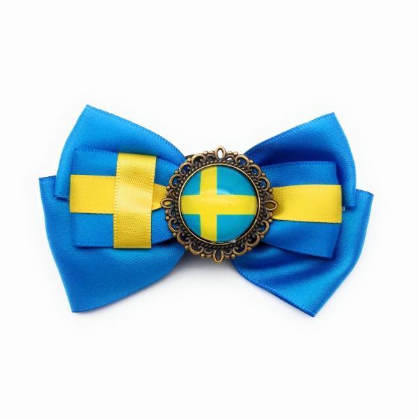 ブローチ リボン 国旗ボタン付き (スウェーデン)