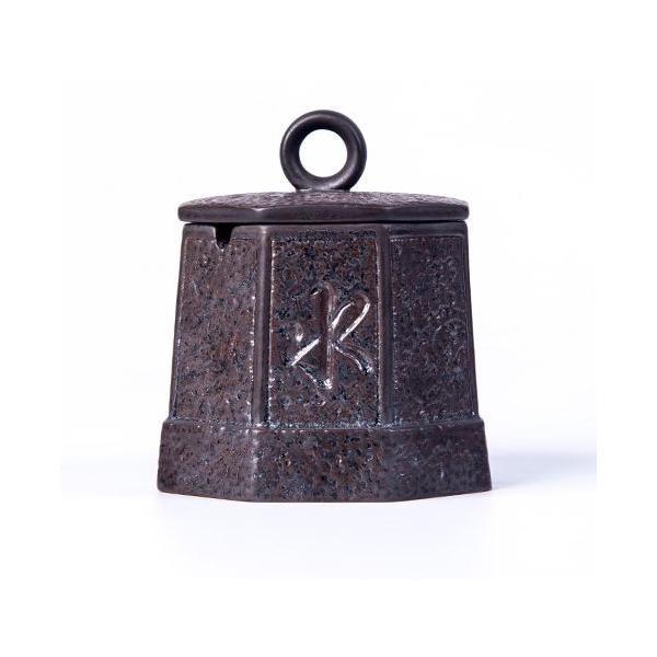 灰皿 上善若水 釣り鐘風 和モダン 蓋付き 陶磁器製 (ブラウン)