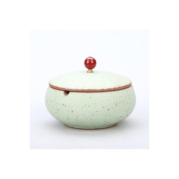 灰皿 波紋 ルビーのような取っ手付きの蓋 和モダン風 陶磁器 (グリーン)