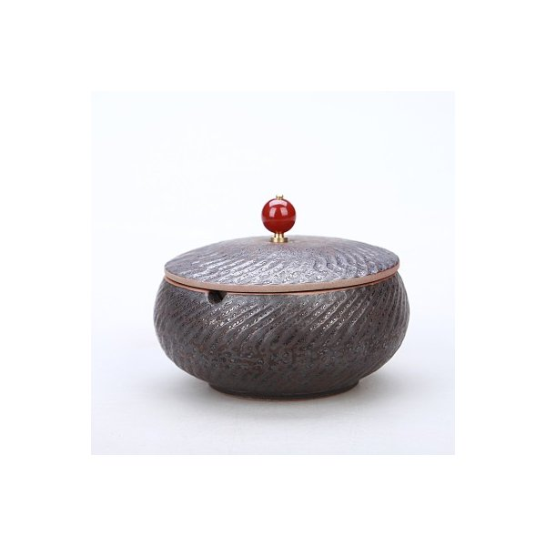灰皿 波紋 ルビーのような取っ手付きの蓋 和モダン風 陶磁器 (ブラウン)