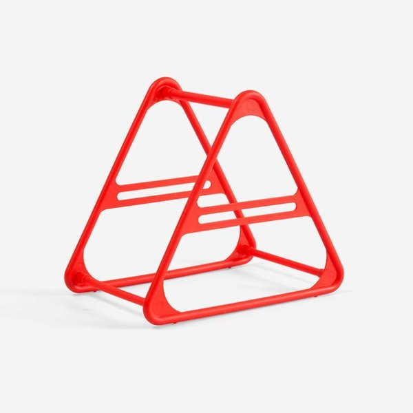 ハンガー収納ホルダー 洗濯バサミ収納 三角形 プラスチック製 (レッド)