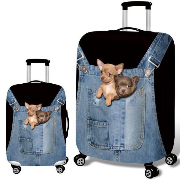 スーツケースカバー デニム風のオーバーオールから顔を出すチワワ イヌ プリント (L)