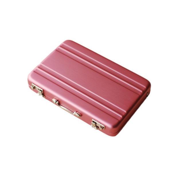 名刺入れ アタッシュケース型 アルミ製 (ピンク)