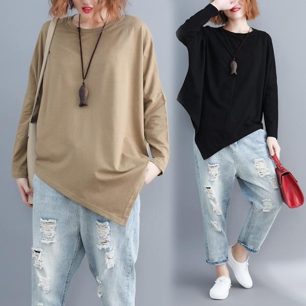 レディース 長袖Tシャツ ゆったり 丸襟 女性用 Tシャツ 体型カバー 秋物 トップス カジュアル 大きいサイズ 送料無料 new-forest-heart