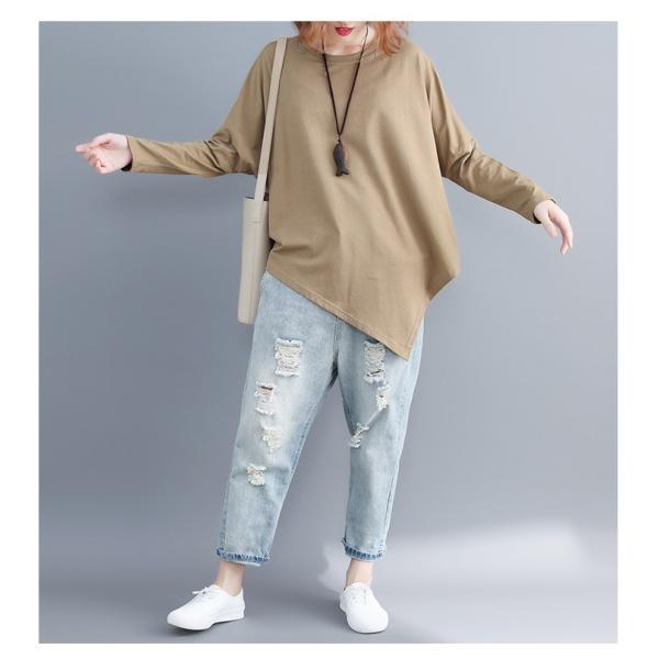 レディース 長袖Tシャツ ゆったり 丸襟 女性用 Tシャツ 体型カバー 秋物 トップス カジュアル 大きいサイズ 送料無料|new-forest-heart|04