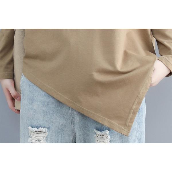 レディース 長袖Tシャツ ゆったり 丸襟 女性用 Tシャツ 体型カバー 秋物 トップス カジュアル 大きいサイズ 送料無料|new-forest-heart|07