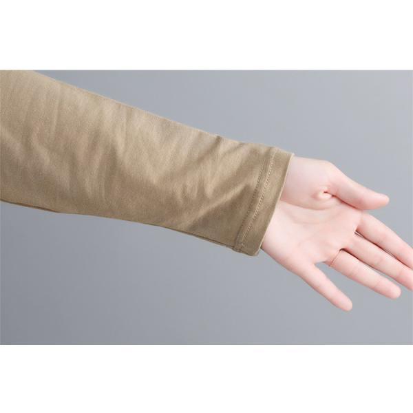 レディース 長袖Tシャツ ゆったり 丸襟 女性用 Tシャツ 体型カバー 秋物 トップス カジュアル 大きいサイズ 送料無料|new-forest-heart|08