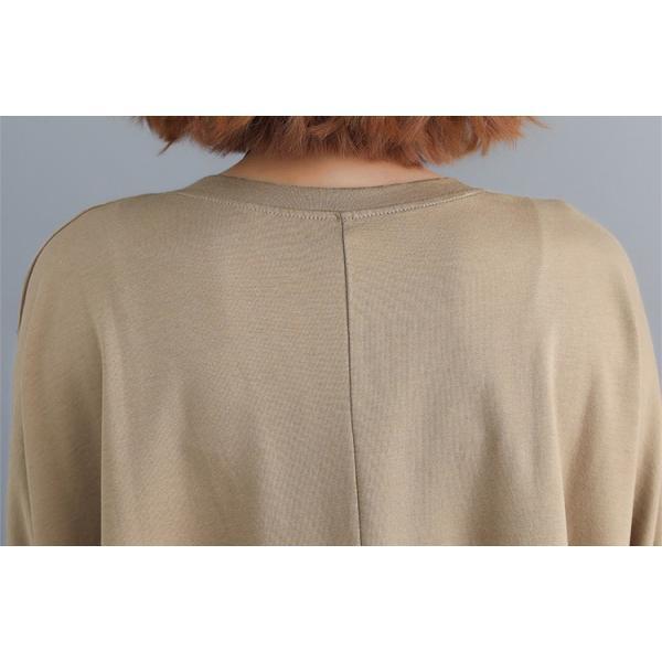 レディース 長袖Tシャツ ゆったり 丸襟 女性用 Tシャツ 体型カバー 秋物 トップス カジュアル 大きいサイズ 送料無料|new-forest-heart|09