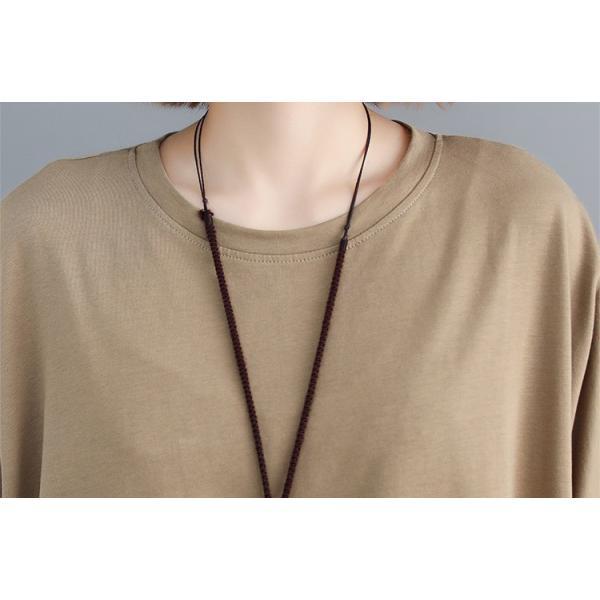 レディース 長袖Tシャツ ゆったり 丸襟 女性用 Tシャツ 体型カバー 秋物 トップス カジュアル 大きいサイズ 送料無料|new-forest-heart|10