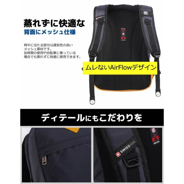SWISSWIN SWK2002 バックパック リュック マザーズバッグ 大容量 アウトドア リュックサック 人気 通勤 通学 旅行 デイパック スクールバッグ A4サイズ 男女兼用
