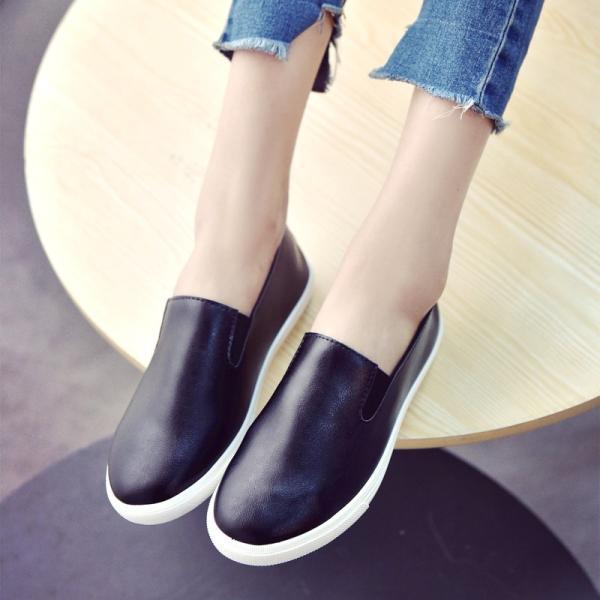 スリッポン スニーカー レディース 厚底 白 黒 ローカット 無地 カジュアル ぺたんこ 通学靴 歩きやすい 痛くない スクールシューズ  シンプル 婦人靴