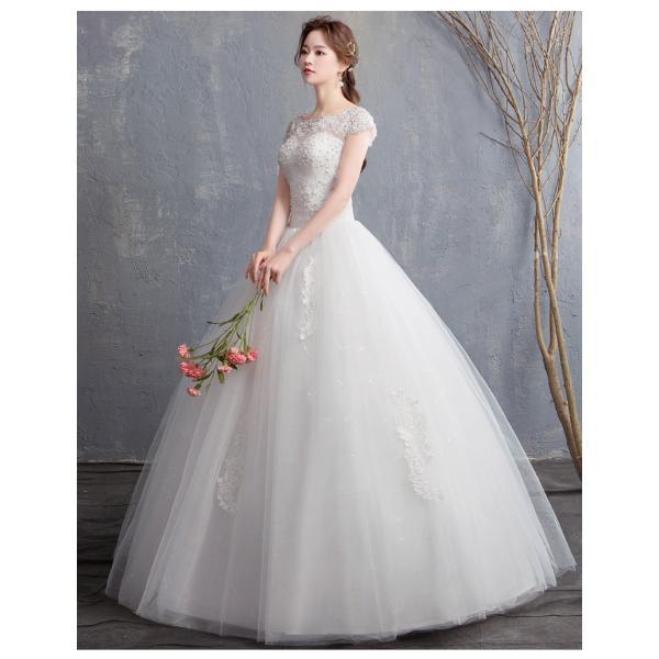 b2e5aeac11e3d ... ウェディングドレス 袖あり 白 安い 結婚式 花嫁 二次会 パーティードレス 秋 短袖 編上げ ...