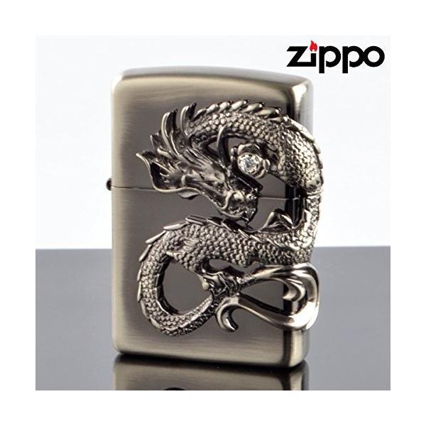 ZIPPO ジッポー #200レギュラー 龍サイドメタル ドラゴン DS-NI ニッケル鍮古美 ライター メール便送料無料 即納
