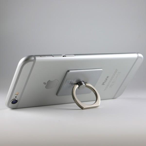 リングホルダー C-Ring スマホ タブレット 用 落下防止 マルチ ホルダー リング & スタンド iPhone / iPad / iPod / Xperia フック付き NEWLOGIC (シルバー)|newlogic-store|04