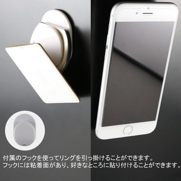 リングホルダー C-Ring スマホ タブレット 用 落下防止 マルチ ホルダー リング & スタンド iPhone / iPad / iPod / Xperia フック付き NEWLOGIC (シルバー)|newlogic-store|05